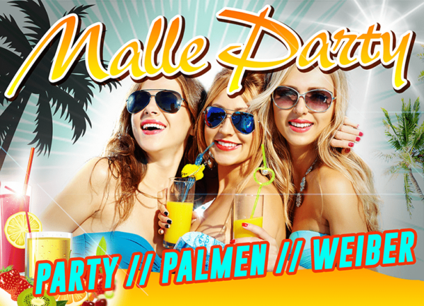 malle party, Party, Palmen, Weiber
