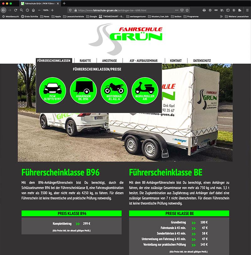 Fahrschule Grün, Webdesign, Anhänger