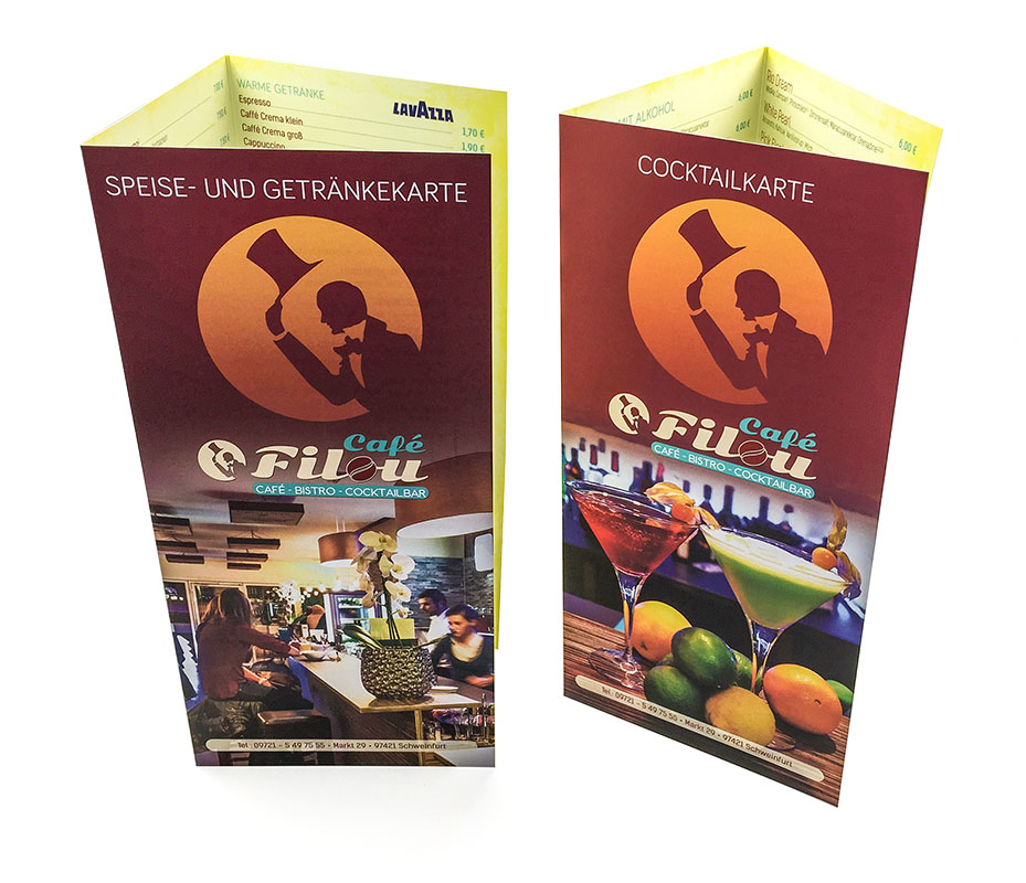 Kartengestaltung, Cocktailkarte, Speisekarte