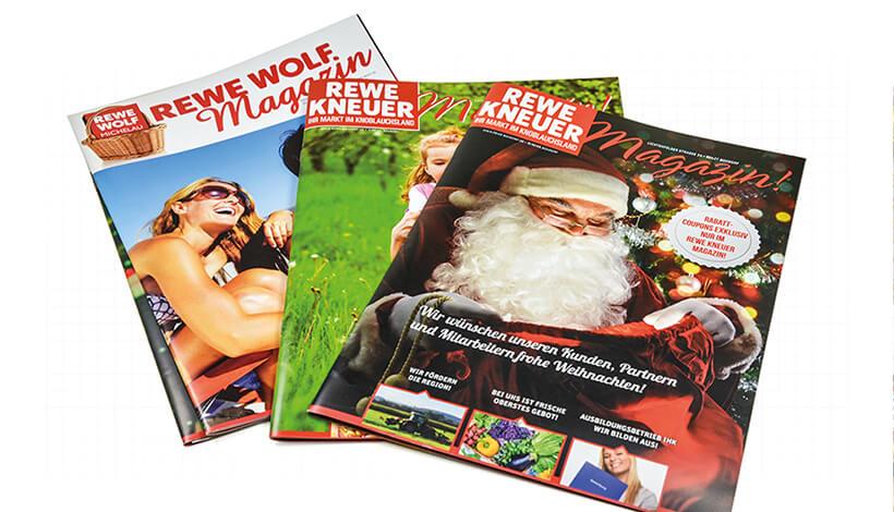 Magazine mit Rückendrahtheftung