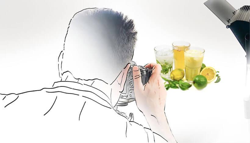 Fotografie, Fotograf nimmt das Produkt auf.
